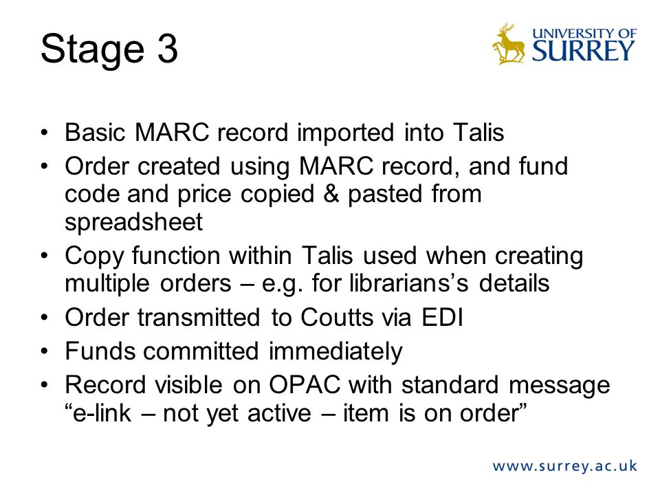 Stage 3 Basic MARC record imported into Talis