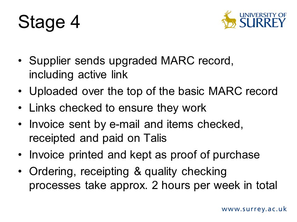 Stage 4 Supplier sends upgraded MARC record, including active link