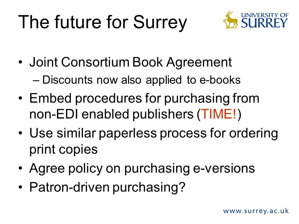 The future for Surrey Joint Consortium Book Agreement