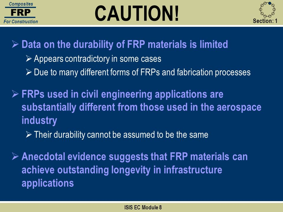 CAUTION! Data on the durability of FRP materials is limited
