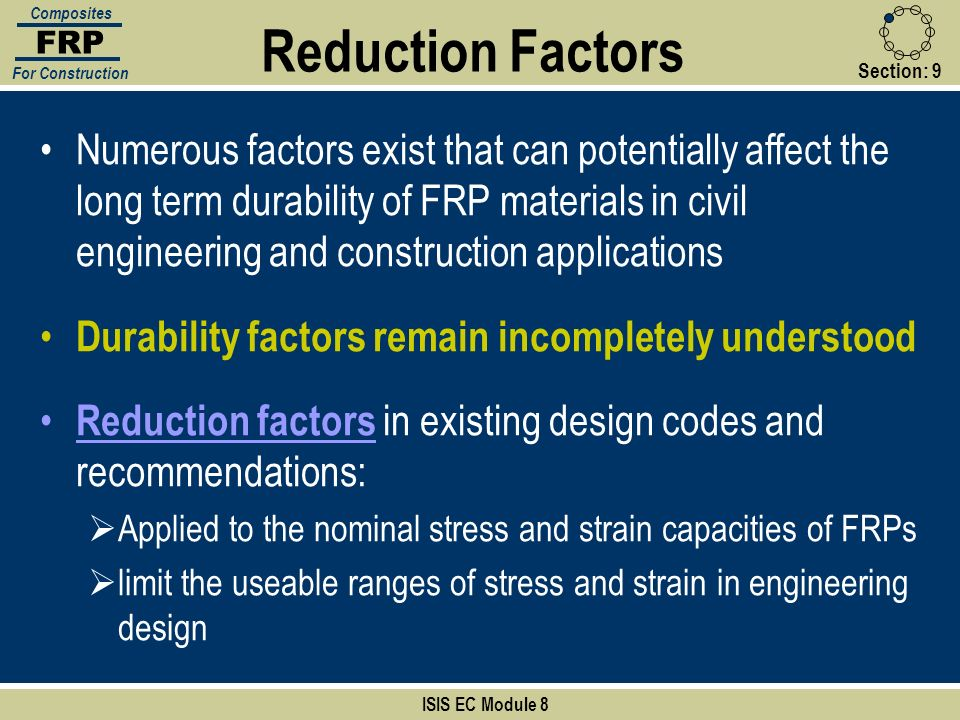FRP Composites. For Construction. Reduction Factors. Section: 9.