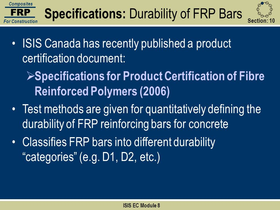Specifications: Durability of FRP Bars