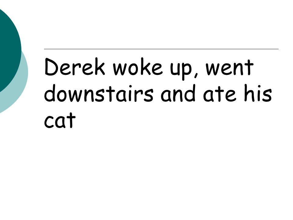 Derek woke up, went downstairs and ate his cat
