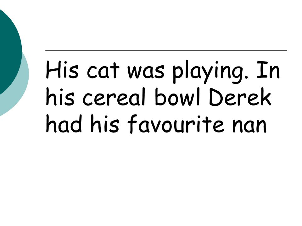 His cat was playing. In his cereal bowl Derek had his favourite nan