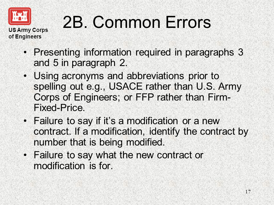 2B. Common Errors Presenting information required in paragraphs 3 and 5 in paragraph 2.