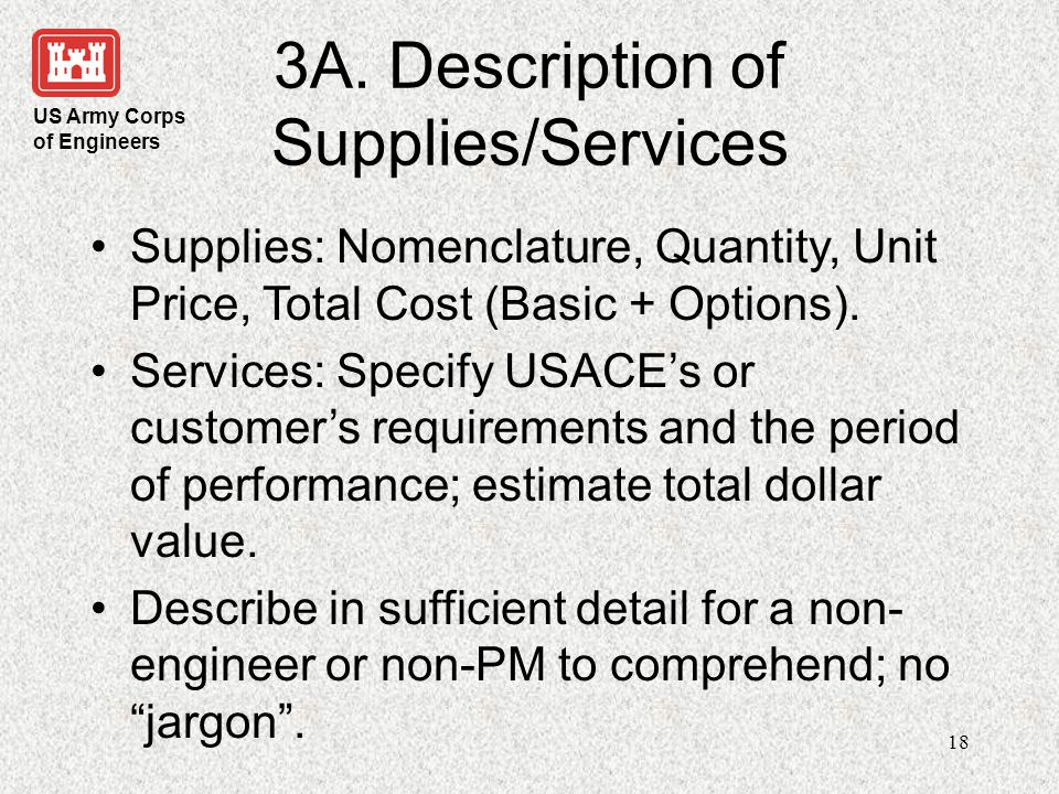 3A. Description of Supplies/Services