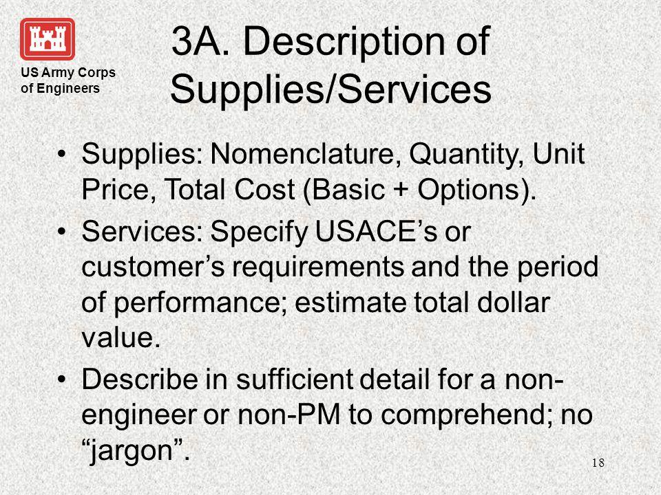 3A. Description of Supplies/Services
