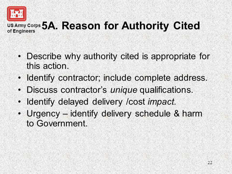 5A. Reason for Authority Cited
