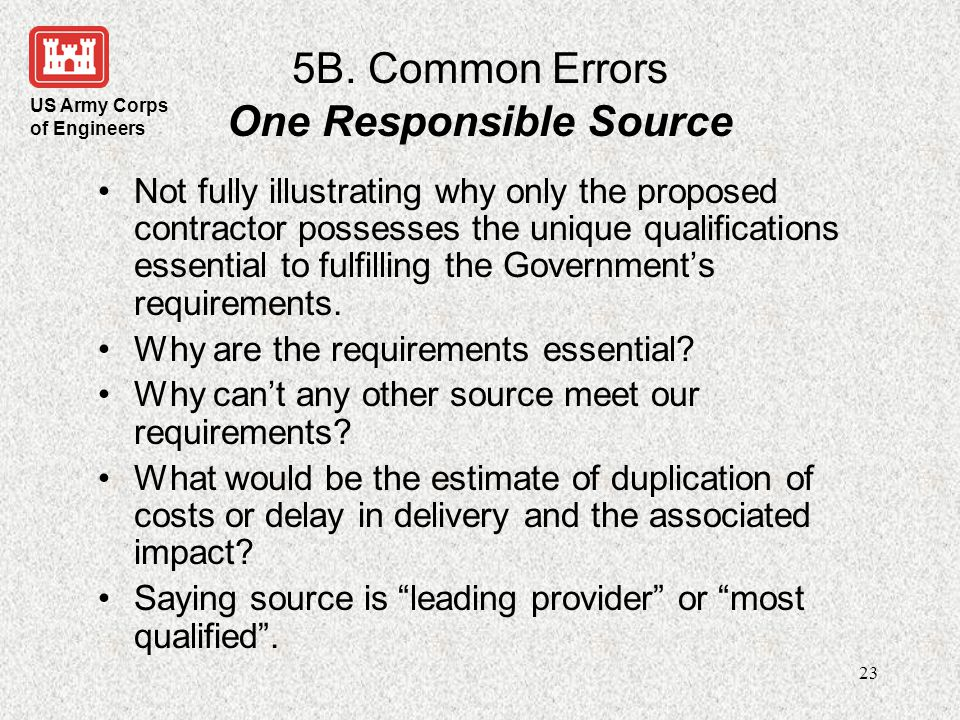5B. Common Errors One Responsible Source