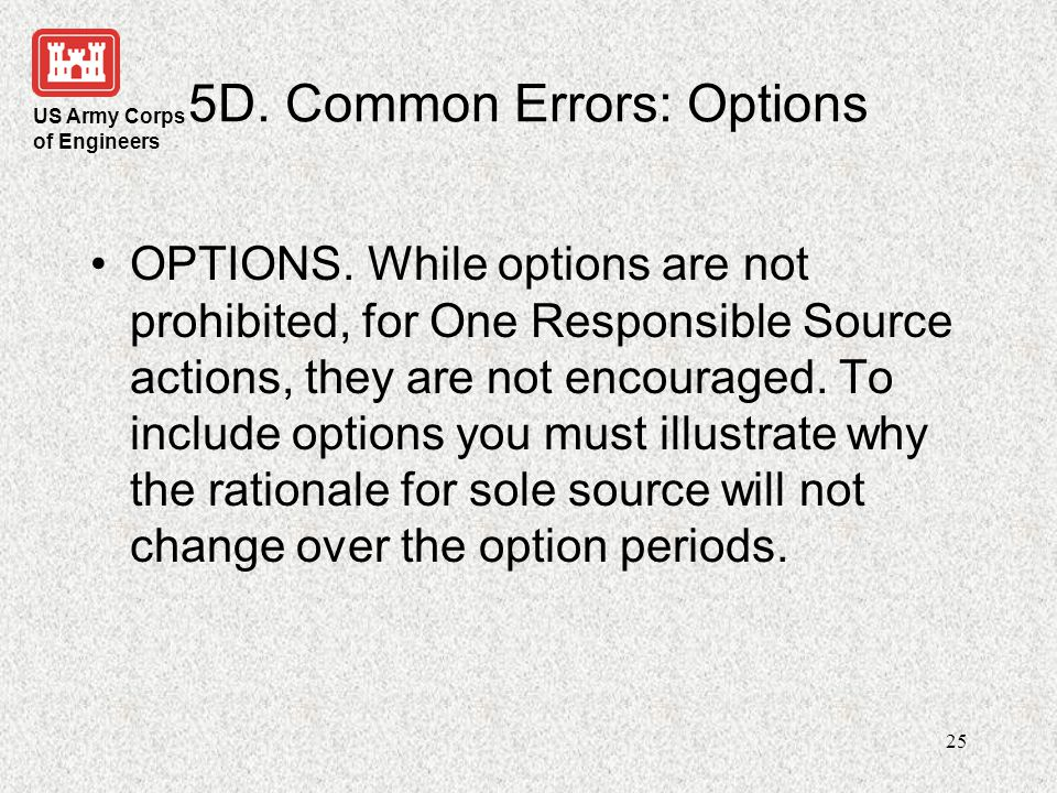 5D. Common Errors: Options