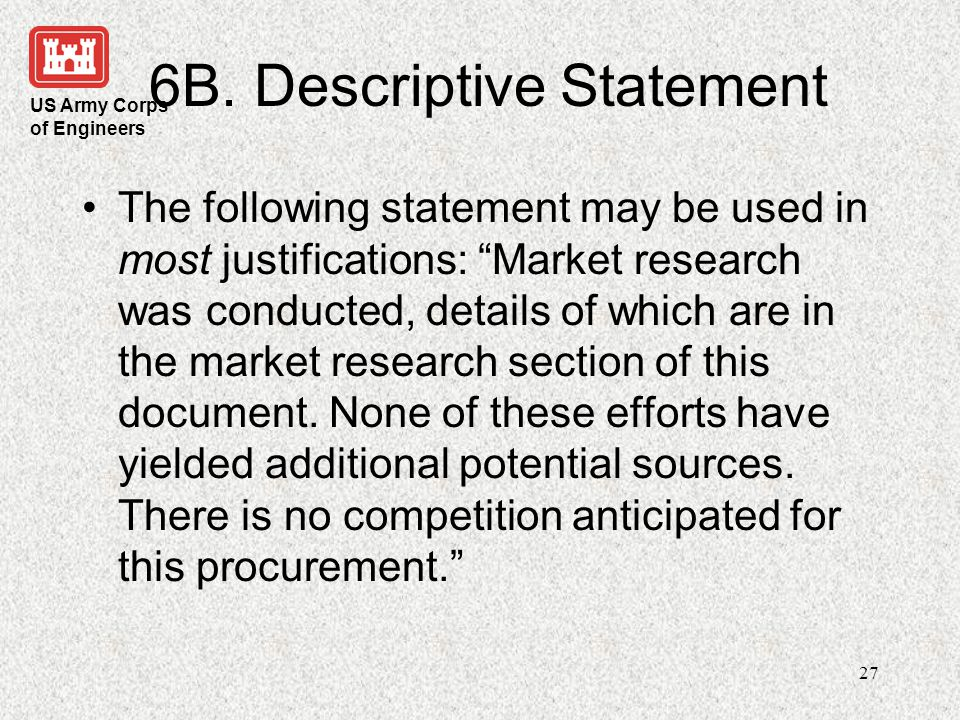 6B. Descriptive Statement