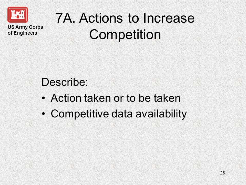7A. Actions to Increase Competition