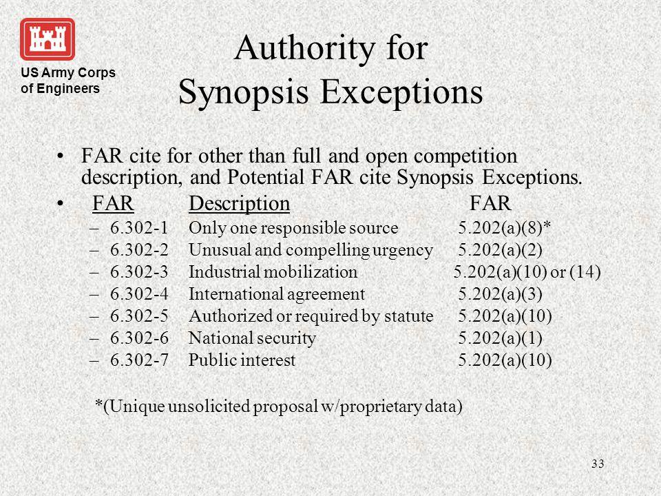Authority for Synopsis Exceptions