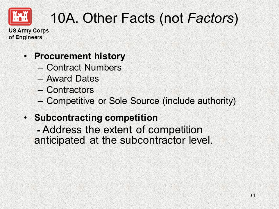 10A. Other Facts (not Factors)