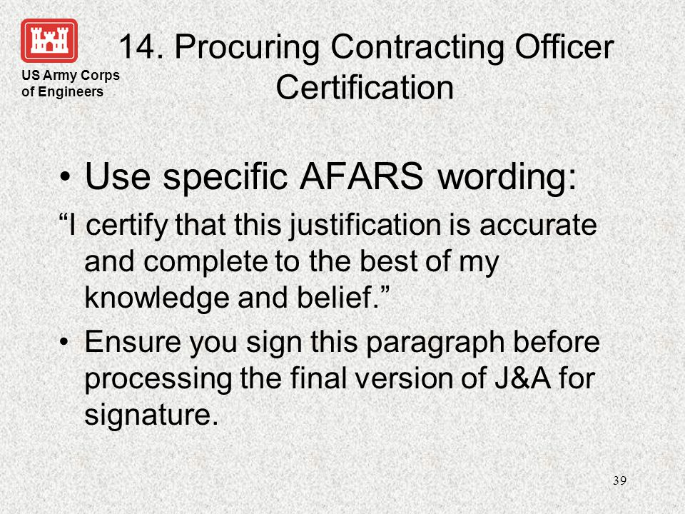 14. Procuring Contracting Officer Certification