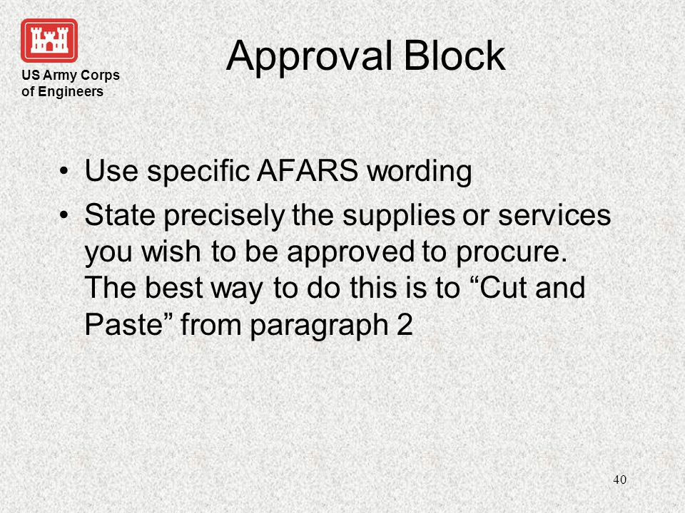 Approval Block Use specific AFARS wording