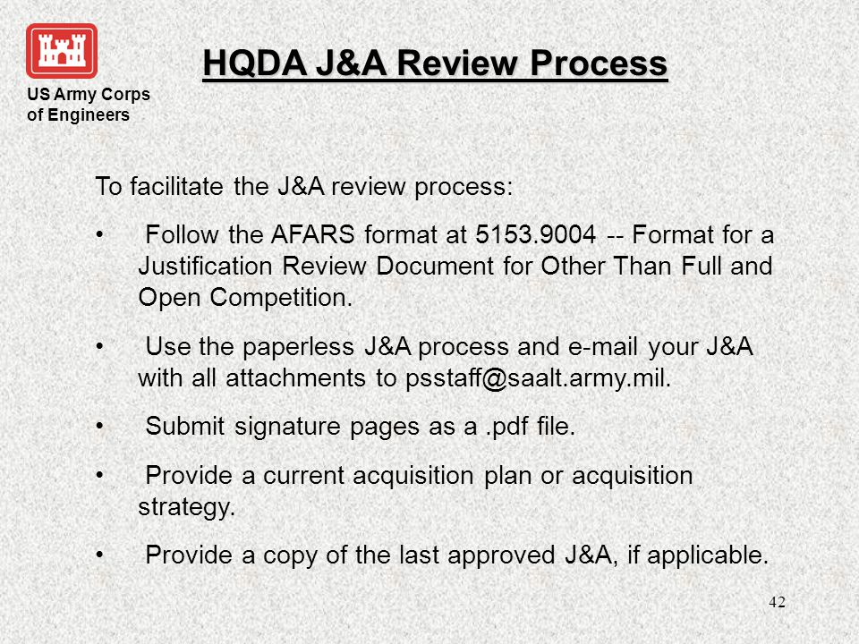 HQDA J&A Review Process