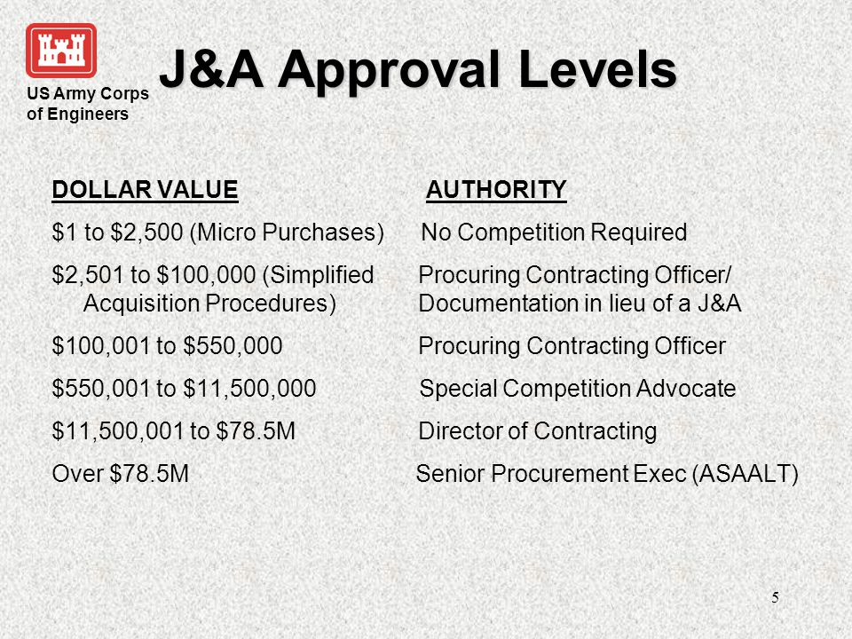 J&A Approval Levels DOLLAR VALUE AUTHORITY