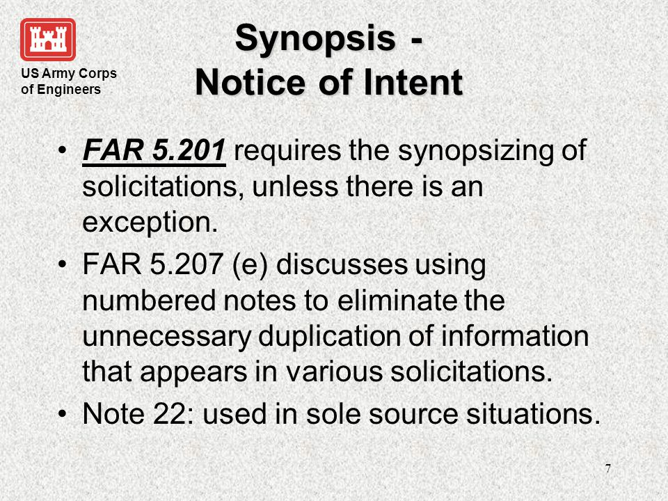 Synopsis - Notice of Intent