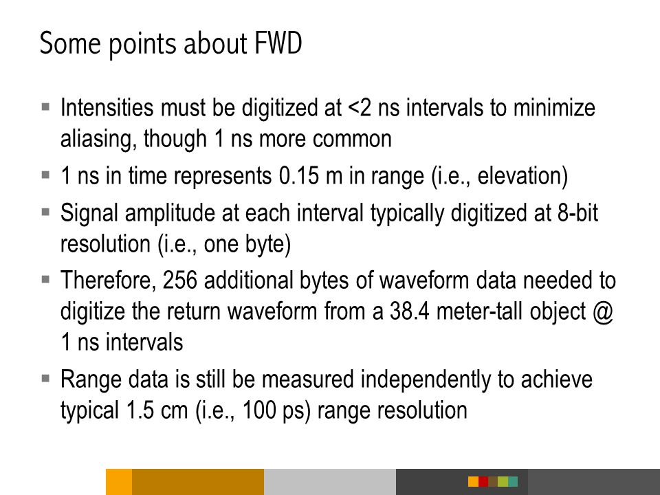 Some points about FWD Intensities must be digitized at <2 ns intervals to minimize aliasing, though 1 ns more common.