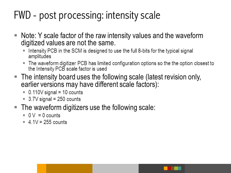 FWD - post processing: intensity scale