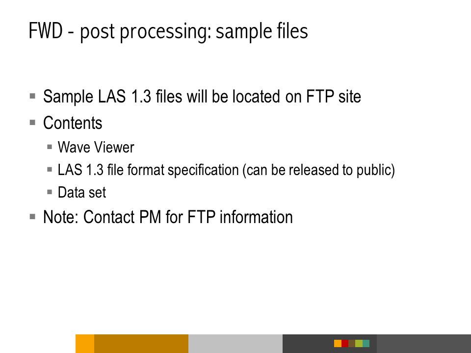 FWD - post processing: sample files