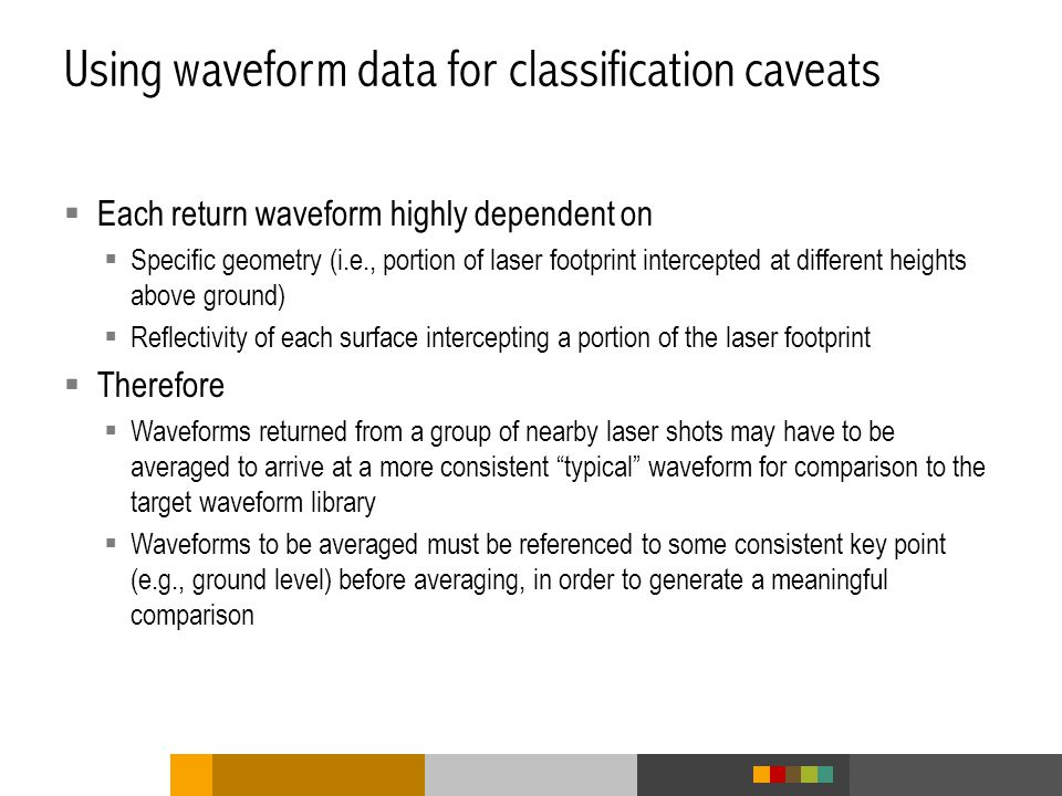 Using waveform data for classification caveats