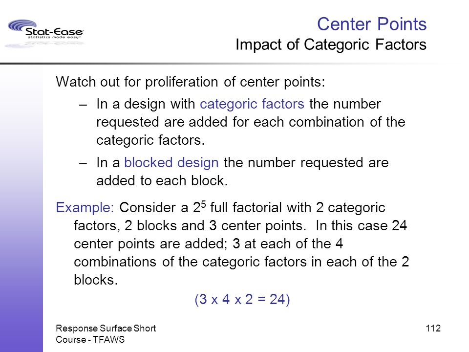 Center Points Impact of Categoric Factors
