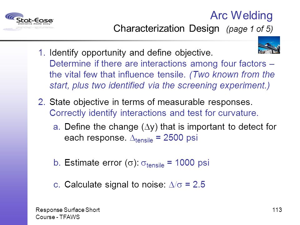 Arc Welding Characterization Design (page 1 of 5)