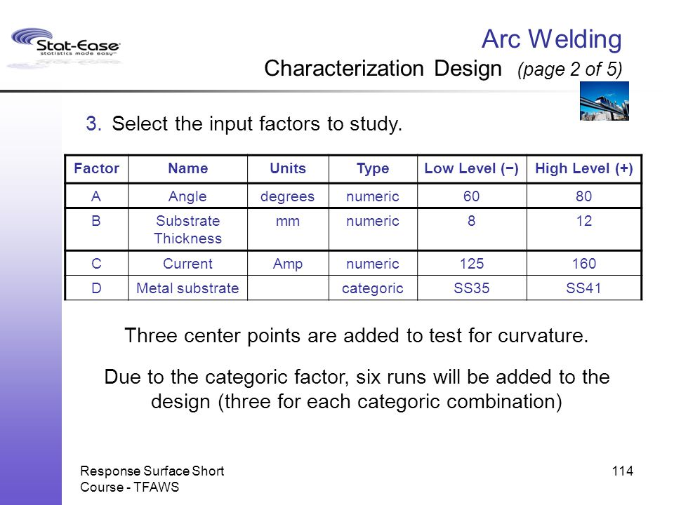 Arc Welding Characterization Design (page 2 of 5)