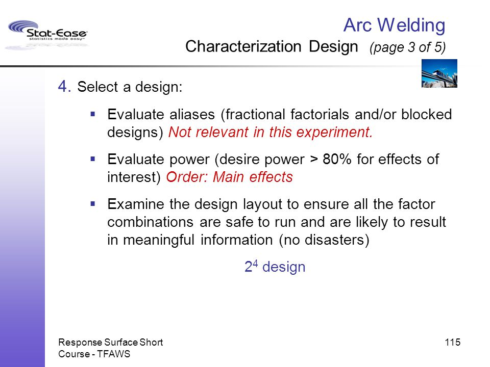 Arc Welding Characterization Design (page 3 of 5)