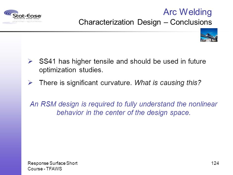 Arc Welding Characterization Design – Conclusions