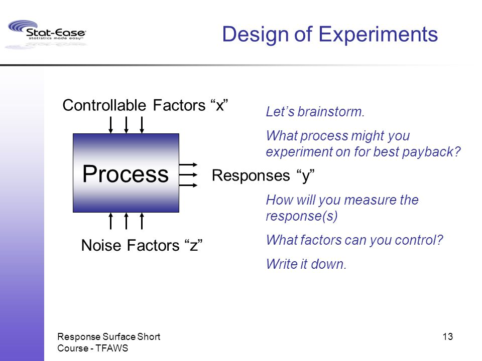 Process Design of Experiments Controllable Factors x Responses y