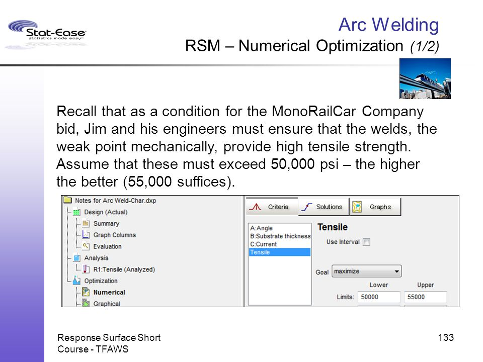 Arc Welding RSM – Numerical Optimization (1/2)