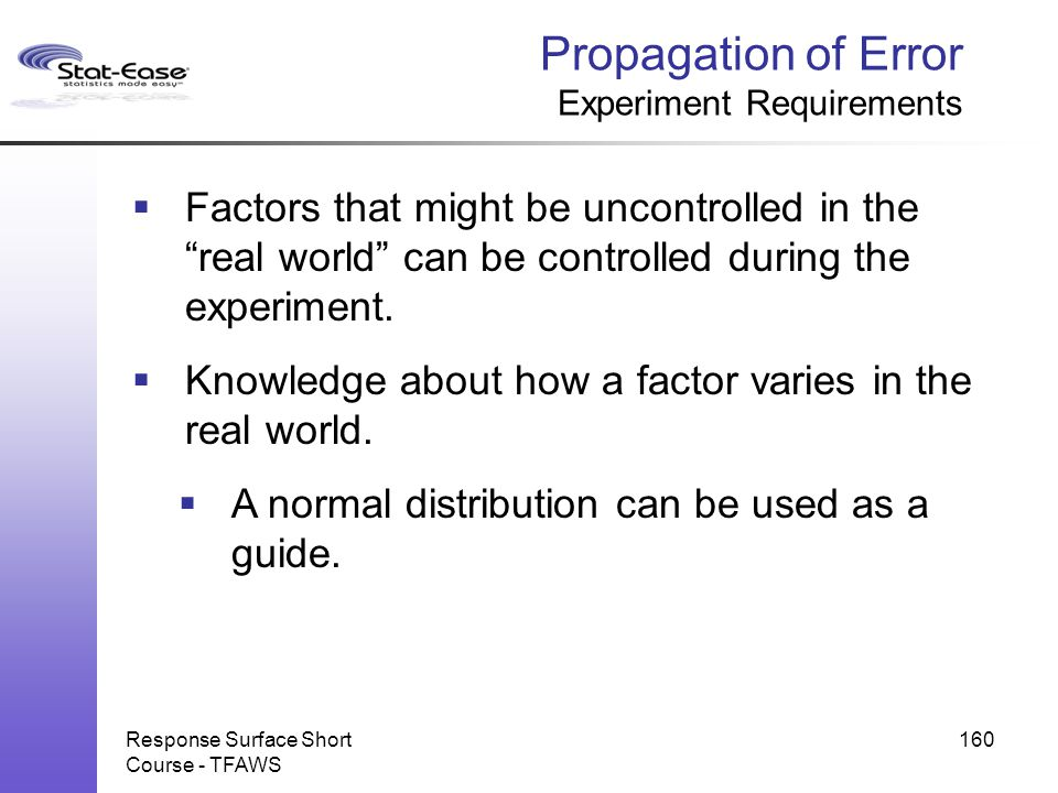 Propagation of Error Experiment Requirements