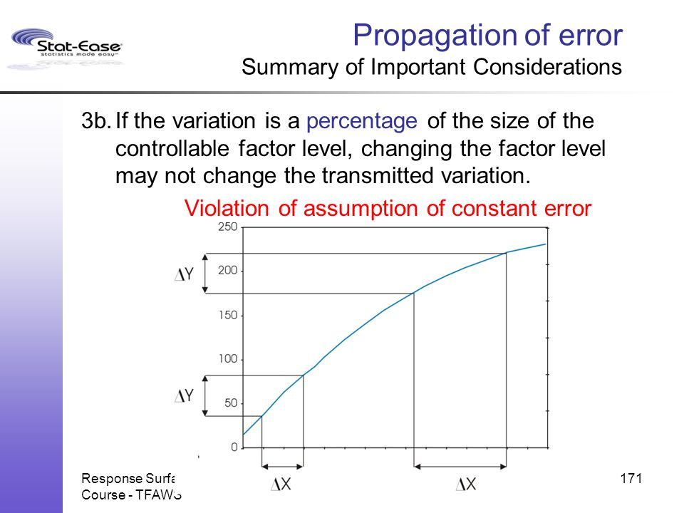 Propagation of error Summary of Important Considerations
