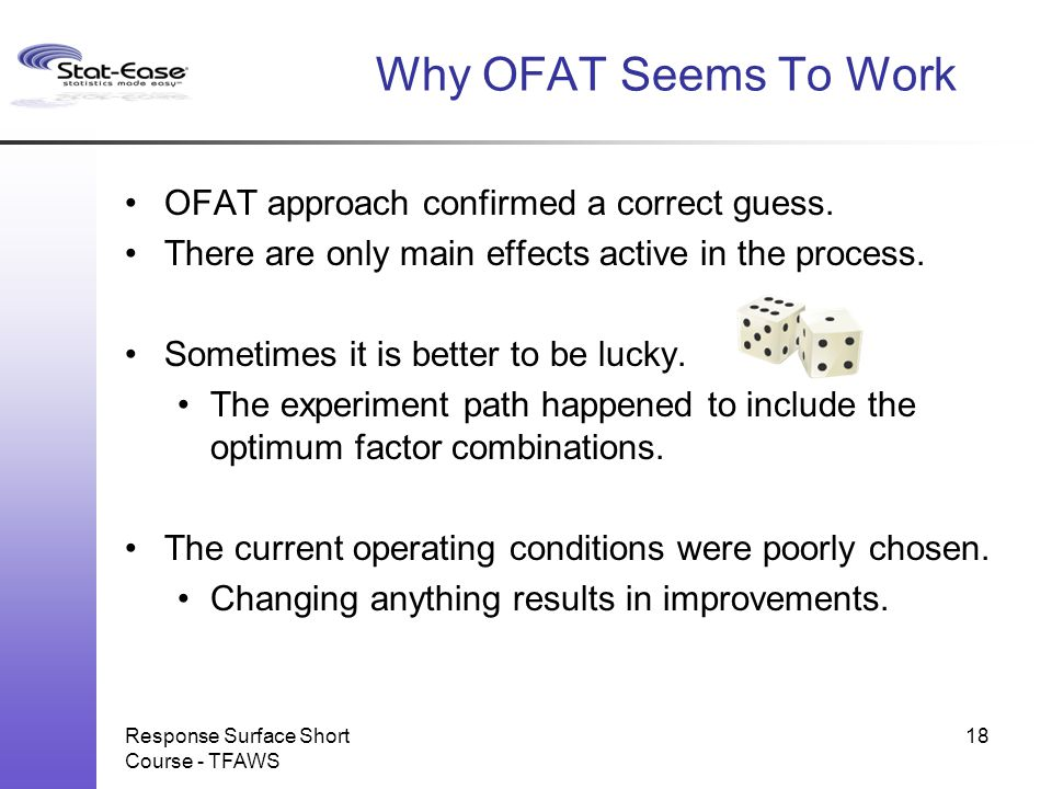 Why OFAT Seems To Work OFAT approach confirmed a correct guess.