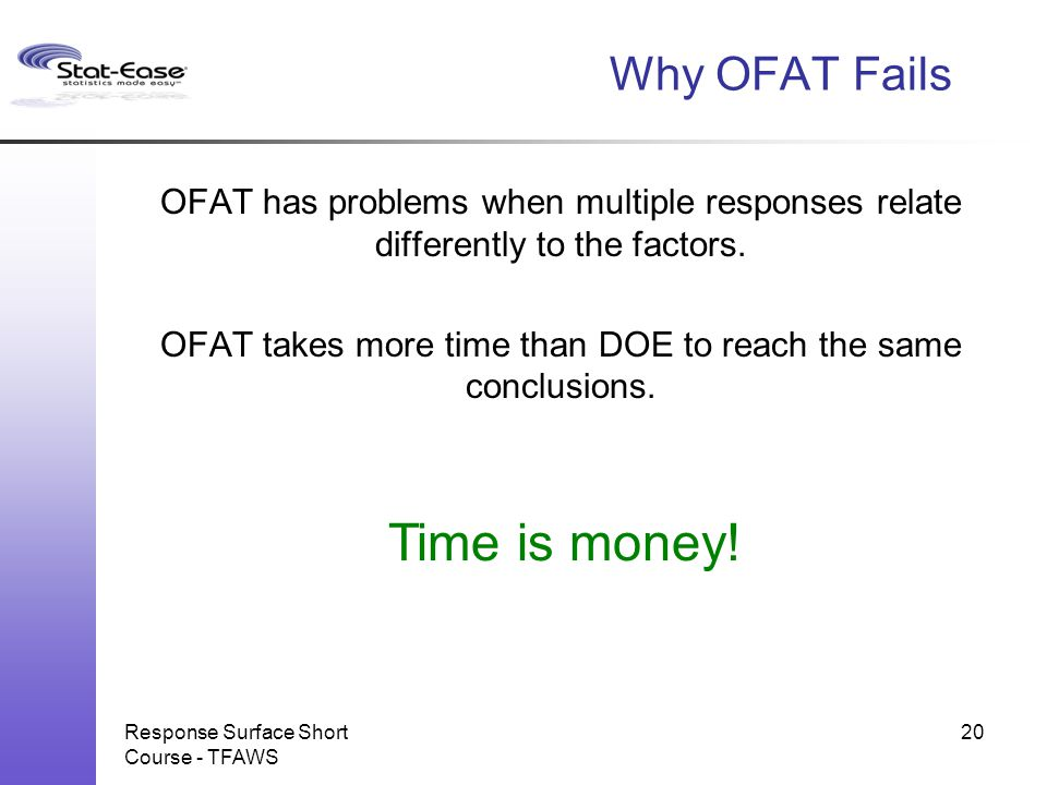 Time is money! Why OFAT Fails