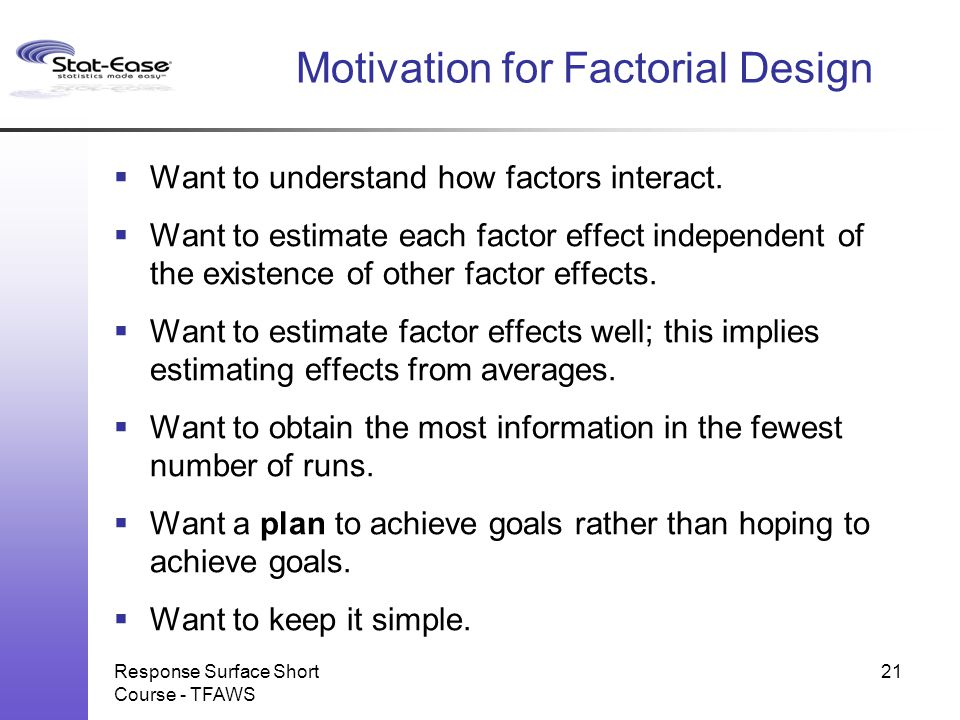 Motivation for Factorial Design
