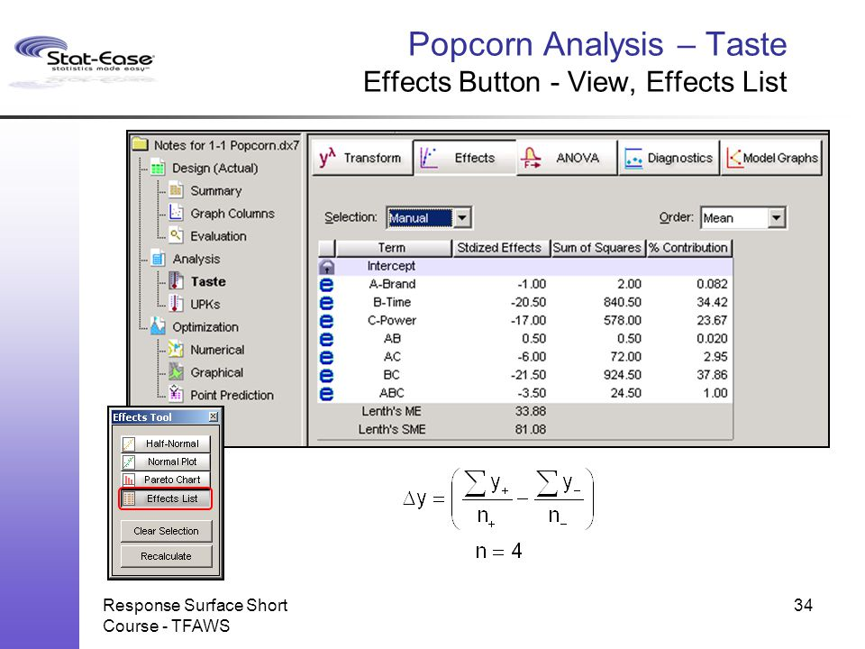 Popcorn Analysis – Taste Effects Button - View, Effects List