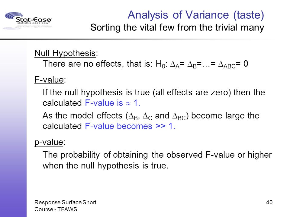 Analysis of Variance (taste) Sorting the vital few from the trivial many