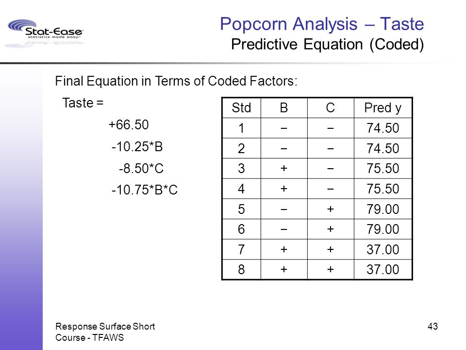 Popcorn Analysis – Taste Predictive Equation (Coded)