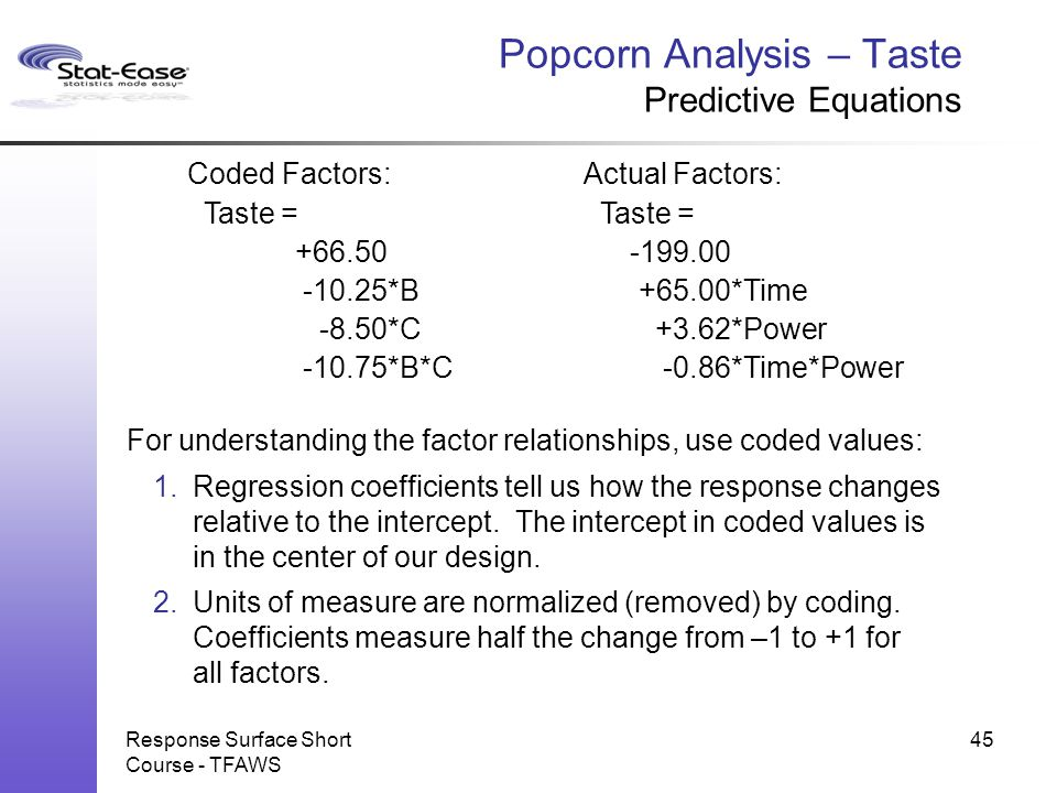 Popcorn Analysis – Taste Predictive Equations