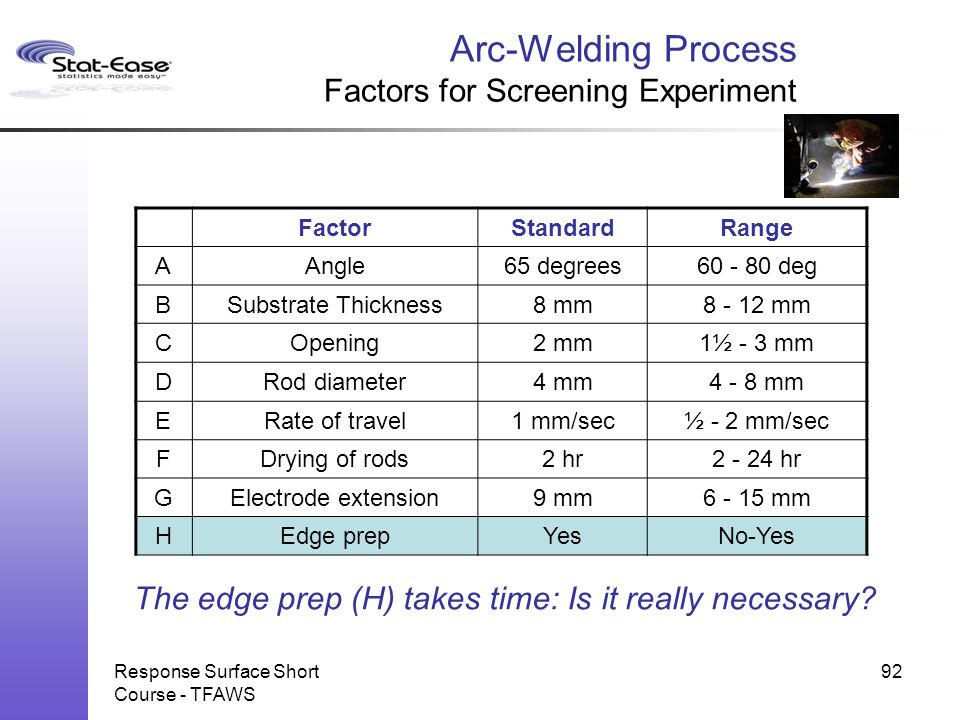 Arc-Welding Process Factors for Screening Experiment