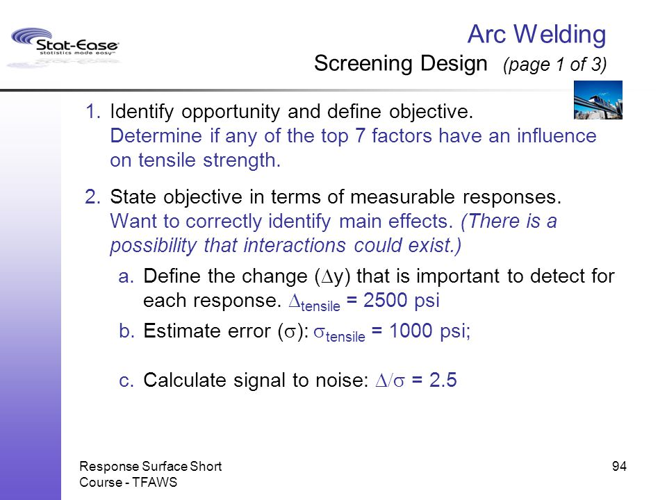 Arc Welding Screening Design (page 1 of 3)