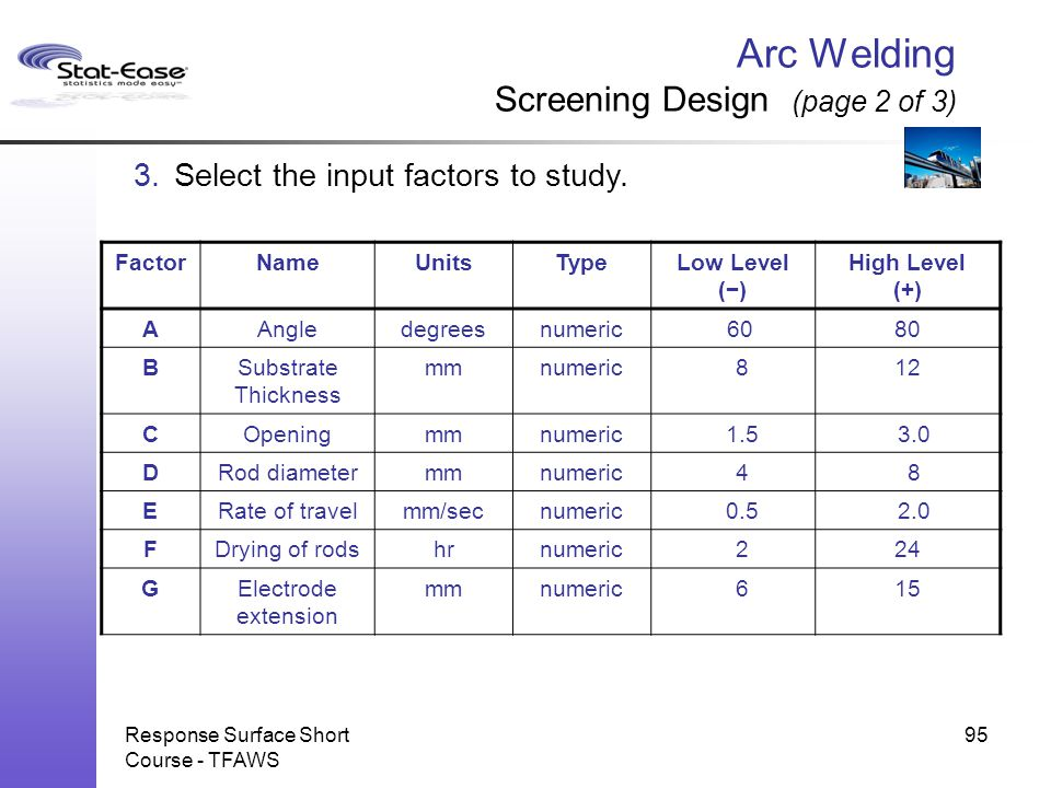 Arc Welding Screening Design (page 2 of 3)