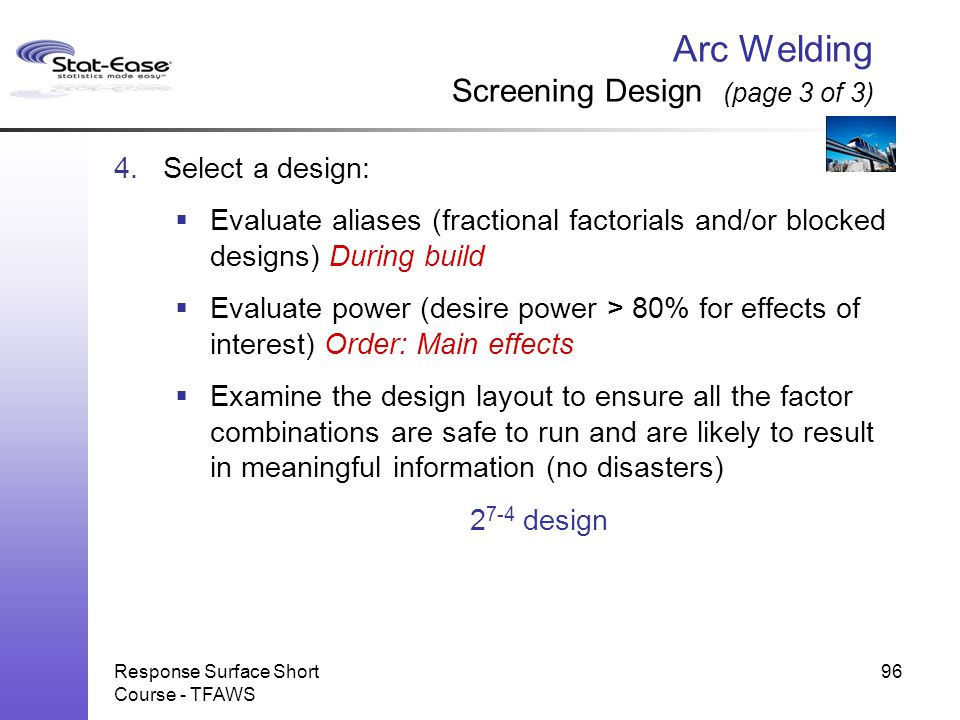 Arc Welding Screening Design (page 3 of 3)