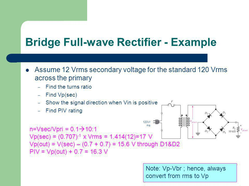 Bridge Full-wave Rectifier - Example