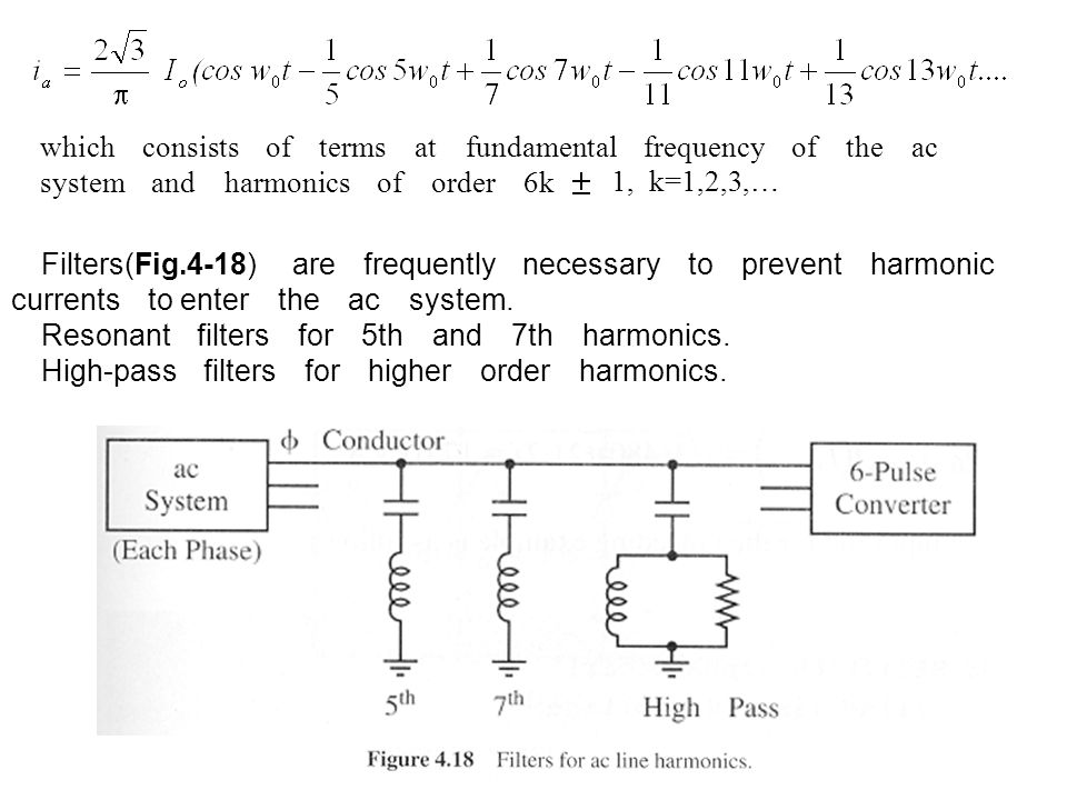 which consists of terms at fundamental frequency of the ac system and harmonics of order 6k