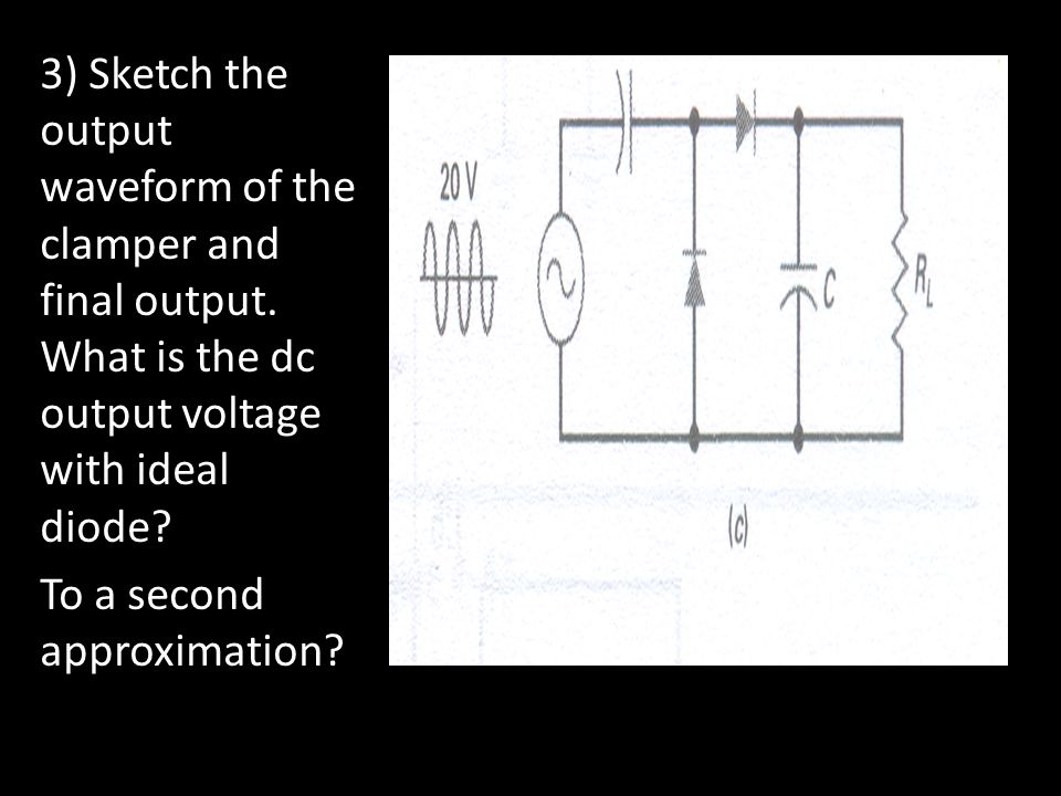 3) Sketch the output waveform of the clamper and final output